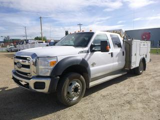 2013 Ford F-450 XLT 4X4 Crew Cab Service Truck c/w 6.7L Diesel, A/T, Showing 179,820 KMs, 9' TK Service Body, No Air Compressor, Exhaust Deleted, VIN 1FD0W4HT2DEA77073