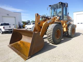 "2014 Case 621F Loader c/w Aux Hyd, Showing 5,683 Hours, Q/C 100"" Bucket, RCTL, New Cutting Blade, Joystick, 20.5x25 Tires, SN NDF220125"