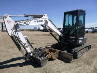 "2012 Bobcat E35 Mini Excavator c/w Kubota D1803-M-D1ET705 Diesel, Showing 4,381.6 Hours, A/C Cab, Heater, Joystick, 38"" Clean up bucket, 23"" Digging Bucket, Single 69"", Hyd Thumb, Q/C, 45"" Stick, 97"" Boom, SN A93K15174"