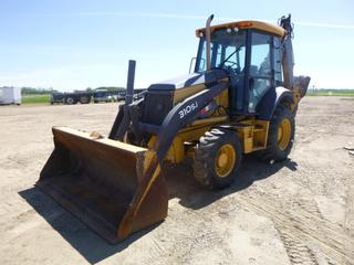"2008 John Deere 310SJ 4X4 Loader Backhoe c/w Diesel, Showing 9,437.6,  A/C Cab, Joystick, 91"" Bucket, 1.3 Cu. Yd. Cap, SN 1864312, Extendable w/ Q/C Bucket, 12.5/80-18, 19.5L-24, SN T0310SJ156546 *NOTE: Damage On L Side Hood*"