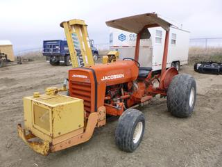 "Jacobsen Tractor G-20 c/w Diesel, 6 Speed, Showing 2,895 Hours, Front Mounted Hyd Pump, 3 Pt Hitch, 540 Pot, Rear Hyd Outlet, 76"" Flail Mower, RS Discharge, Model 1574-R, SN 60714, Fronts 26x12.00-12, Rears 18.4-16.1 At 5%, SN 9A340884 *NOTE: Mower Not Working, Hydraulic Motor Has Leak*"