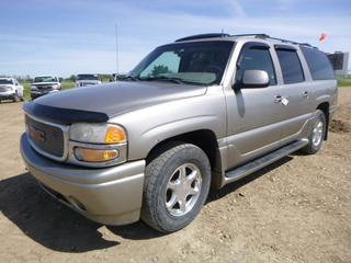 2002 GMC Yukon Denali XL c/w Vortec 6000 6.0L , A/T, A/C, Leather, Power Sunroof, Showing 337,568 KMS, 265/70R17 Tires At 20%, Activator II Brake Control, Bose Stereo System, 7 Passenger, VIN 1GKFK66U92J248718 *NOTE: Check Engine Light On*