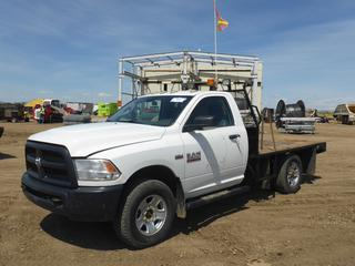"2014 Dodge Ram 3500 4X4 Flat Deck Truck c/w 5.7L Hemi, Gas, A/T, A/C, Leather, Showing 68,766 KMS, GVWR 4,763 KG, 145"" W/B, 9'5"" x 7' Deck, 275/70R18 Front Tires At 50%, Rear Tires At 75%, Front Axle Rating 2,495, Rear Axle Rating 3,085 KG, VIN 3C7WR9AT3EG243174 *NOTE: Runs And Drives, Has Engine Issues*"