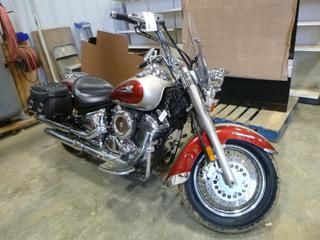 2004 Yamaha V Star Classic Motor Cycle c/w 1100 CC, Showing 25,586 KMS, Hwy Pegs, Leather Saddlebags, Detachable Wind Shield, Crash Bar, VIN JYAVP11NX4A013013
