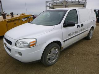 2008 Chevrolet Uplander Cargo Extended Van c/w 3900 V6, Showing 160,269 KMS, A/C, 225/60R17 Tires At 80%, VIN 1GBDV13158D139966 *NOTE: Power Steer pump Whines, Body Rust*