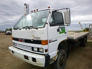 "1993 GMC 5000 Flat Deck Truck c/w Isuzu 6 Cyl Diesel, 5 Speed, A/C, Showing 243,408 KMS, GVWR 8,165KG, 15' x 7'8"" Deck,215/75R17.5 Tires At 50%, Front Axle Rating 3,085KG, Rear Axle Rating 5,900KG, VIN J8DE5B1U0P3002245 *NOTE: No Start, Working Condition Unknown, Left Step Broken*"