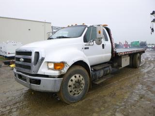 "2008 Ford F-750 Super Duty Tilt Deck c/w CAT C7 Diesel, 275 HP, A/C, PTO, Showing 541,156 KMS, GVWR 14, 968KG, 233"" W/B, 22' x 8' Hyd Tilt Deck, Ramsy Winch, 10,000LB Capacity, 11R22.5 Tires, Front Axle Rating 5,443KG, Rear Axle Rating 9,525KG, CVIP 04/2021, VIN 3FRXX75V08V676753"