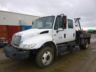 2005 International Crew Cab Flat Deck c/w A/T, A/C, Showing 276,536 KMS, Spring Susp, Steel Bumper, Solar Pro Logix 10 Amp Battery Charger, Fill-Rite 12V High Flow Pump, Diesel Nozzle, Storage Cabinet, LCD Stereo, 8' x 8' Deck, Pintle Hitch Receiver, 225/70R22.5 Tires, CVIP 11/2020, VIN 1HTMMAAM85H162497 *NOTE: Engine Runs Rough, Oil Leaking From Exhaust*
