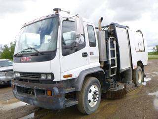2002 GMC T7500 Sweeper c/w CAT 3126 7.2L Diesel, A/C, Showing 46,376 KMS, 7,280 Hours, GVWR 12,515KG, 11R22.5 Tires, Front Axle Rating 5,443KG, Rear Axle Rating 9,525KG, Dual Steering, Dual Brooms, Side Discharge Hopper, VIN 1GDM7C1CX2J516124