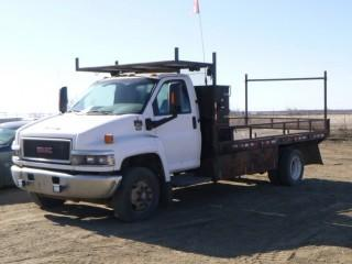 "2008 GMC C5500 Flat Deck c/w Duramax Diesel, A/T, A/C, Showing 298,702 KMS, 19,500LB GVWR, 196"" W/B, Dually, 16' Flat Deck, Rear Pintle Hitch (Hook), Primus IQ Brake Controller, Storage Cabinet, Front Tires 245/70R19.5 at 60%, Axle Rating 7000LB, Rear Tires at 60%, Axle Rating 13,500LB, CVIP 05/2020, VIN 1GDE5C19X8F416826"