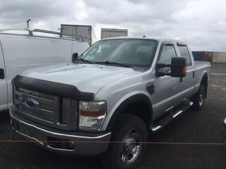 2008 Ford F350 4x4 Crew Cab P/U c/w 6.4 L V8 Powerstroke Diesel, Auto, A/C. Roll-Up Toneau Cover, S/N 1FTWW31R08EC05582. Note:  Requires Repair.