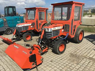 Kubota B7300 Tractor c/w Diesel, ROPS, 3 Point Hitch, Sweeper Attachment. Showing 1897 Hours. S/N 158953
