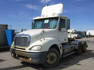 2006 Freightliner Day Cab Truck Tractor c/w 14.0 L, 10 Sod, Air Ride Susp., 11R22.5 Tires. Showing 591,847 Kms. S/N 1FUJA6CK06LW08859 Note:  Fresh Safety (CVIP).