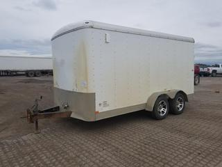2009 Mirage M714TA2 14' T/A Pintle Hitch Enclosed Trailer c/w Shelving, Ramp Door, Side Door, STG205/75R15 Tires. S/N 5M3BE142591041923