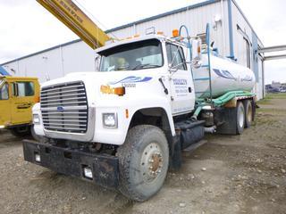 1997 Ford L9000 Diesel Water Truck C/w CAT Engine, A/C, PTO, 1997 Wash Tank w/ Tekansha Brake Control. Showing 352,098kms. VIN 1FDYU90S0VVA04598