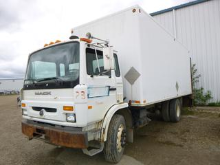 "2001 Mack MS200P Diesel Van Truck C/w Rear Hyd Lift Gate, 22' X 8'5"" Van Body And Rear Roll Up Door. Showing 224,461kms. VIN VG6M116A81B204146"