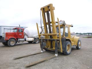 Hyster H180H 18,000lb Forklift C/w Perkins Engine, Diesel, 2-Stage Mast, Side Shift, Hyd Fork Positioner, 94in Forks. Showing 333hrs. SN C7P26657 *Note: No Brakes*