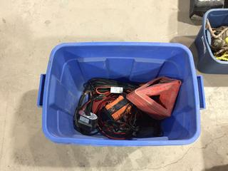 Lot of Emergency Triangles, Battery Warmer, Booster Cables, Etc.