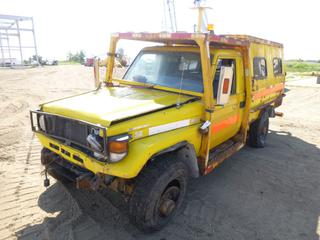 1988 Toyota Landcruiser C/w Diesel, Spicer Planetary Differentials, Front Tires LT 235/85R16, Rear Tires 7.50R16 LT. Showing 8778.7 Hours. VIN JTELB71J457043015 *NOTE: Parts Only, Driver Side Off Rim* (Fichtenberg/Higher Ground Acreage Dispersal)