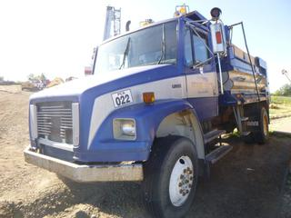 1998 Freightliner FL106 Dump Truck C/w Detroit Series 50, Diesel, 315 HP, 18 Speed Rock Well Transmission, GVWR 15,740 KG, Spring Susp, PTO, 11R22.5 Tires At 60%, Electric Roll Tarp, 12' Dump Box, Voyager XP Brake Control, Showing 147,318 KMS. VIN 1FV68HCB7WH936677 *NOTE: Unknown Mechanical Issues, Does not start, Damage To Hood, Front Left Tire Losing Air, Mouse Infested*