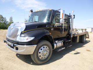 "2006 International 4400 SBA 4X4 Flat Deck c/w International DT 570, 1411 HP, Diesel, 10 Speed Eaton Fuller, Showing 479,767 KMS, A/C, Fully Loaded, Leather, Blower, PTO, Headache Rack, Storage Cabinet, GVWR 14,968 KG, 675"" W/B, Crew Cab Converted To Sleeper Bunk, 15'6"" x 8' Deck, 5' Beaver Tail, Flip Over Ramps, 11R22.5 Front Tires At 95%, Axle Rating 5,443 KG, 11R22.5 Rear Tires At 90%, Axle Rating 9,525 KG, VIN 1HTMKAZN06H329875"