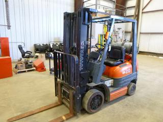"Toyota Forklift C/w  Propane, Side Shift Forks Attachment, 189"" Max Height, 4050 LB Capacity, Back Tilt - 5, Approx. Weight 7950 LBS, Front Tires 21x7x15 Solid At 50%, Rears 16x5x10 1/2 Solid At 50, Showing 4,678 Hours. SN 78419"