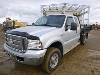 "2005 Ford F350 XLT 4X4 Super Duty c/w V8 Power Stroke/Turbo Diesel, A/T, Fully Loaded, Showing 256,100 KMS, 6,401.2 Hours, GVWR 4,989 KG, 158"" W/B, 410L Slip Tank, Hose, Nozzle, 7'5"" x 9' Deck, LT 265/70R17 Tires At 80%, Front Axle 2,540 KG, Rear Axle 2,898 KG, VIN 1FTWX31P95EA25265 *NOTE: New Head Gasket 20,000 KMS Ago*"