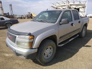 2008 GMC Canyon SLE 4X4 Crew Cab Pick Up Truck c/w Vortec 3700 3.7L, A/T, A/C, 265/75R15 Tires At 30%, Showing 240,673 KMS. VIN 1GTDT33EX88227873 *NOTE: Check Engine Light On, Rust*
