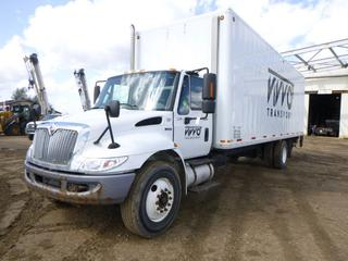 "2013 International 4300 Durastar Enclosed Cargo Van Truck c/w Maxx Force Diesel, Allison A/T, A/C, Fully Loaded, Showing 403,611 KMS, 9,880 Hours, GVWR 33,000, 273"" W/B, Spring Susp, 11R22.5 Tires At 75%, Front Axle 10,000, Rear Axle 17,500, Electric Lift Gate, 28' Intercontinental Van Body, Webasto Heater, CVIP 11/20, VIN 1HTMMAAP5DH282900"