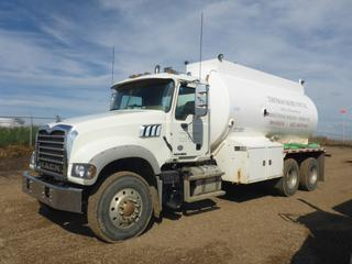 2012 Mack GU713 Water Truck c/w MP7 10.8L Diesel, 10 Speed Maxitorque ES, 405 HP, Showing 39,393KMS, A/C, PTO, GVWR 24,141 KG, 11R22.5 Tires At 65%, 2012 Scheller Metal Tank, 3500 Gal. Capacity, SN 3500-040, Plumbed For Pump, VIN 1M2AX04C0CM013117 *Work Orders Located In Documents Tab*