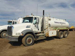 2008 Mack GU813 Water Truck c/w MP7 10.8L Diesel, 370 HP, 18 Speed Maxitorque ES, A/C, PTO, Showing 90,710 KMS, GVWR 29,000 KG, 385R22.5 Front Tires, Front Axle Rating 8,200 KG, 11R24.5 Rear Tires, Rear Axle Rating 10,400 KG, Hamm Tank, SN NWAT2061MA21264947, 16,670L Capacity, 1 Comp, Plumped For Pup, VIN 1M2AX13C28M002330, CVIP 07/21