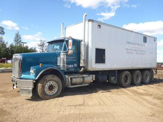 2006 Freightliner Classic Mud Mixer c/w 550 CAT, 18 Speed, Showing 319,942 KMS, 9,124 Hours, Front Axle 14,000, Rear Axle 69,000, Air Ride, 2- 1000 Gallon Tanks, New Mixing Pump Pressure Washer, 12KW Gen, 400 BTU Boiler, 25' Van, New PTO, New Hyd Pumps, 435/60R27.5, 11R24 At 75%, VIN 1FVPALAVX6DW68997 *Work Orders In Documents Tab*