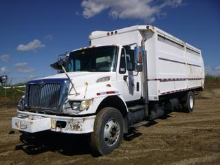 "2007 International 7400 SBA 4X2 Garbage Truck c/w International Diesel, A/T, Showing 257,506 KMS, 21,088 Hours, GVWR 14,968 KG, 650"" W/B, 11R22.5 Tires At 70%, Back Up Camera, 2000 Labrie, SN TS06106NVS, VIN 1HTWCAAN67J400122, CVIP 03/20 *NOTE: Damage To Hood, LS Hood Latch Broken* (Fichtenberg/Higher Ground Acreage Dispersal)"
