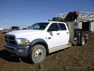 2011 Dodge Ram 5500 SLT Boom Truck c/w 6.7L Cummins Diesel, A/T, Showing 146,985 KMS, GVWR 8,846 KG, 245/70R19.5 Tires At 80%, Crew Cab, Side Storage Cabinets, 6' Deck w/ Fold Down Rails, Hitch Receiver, Hydraulic, Outrigger, Fuel Tank w/ Hose and Nozzle, 2011 Palfinger PK8501C Knuckle Boom Crane, 10,800 LB Capacity, 4 Section Boom, Folding Arm, VIN 3D6WU7CL4BG630965, CVIP 04/20