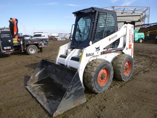 "Bobcat 863 Skid Steer c/w 4 Cyl. Diesel, Showing 2,359 Hours, A/C, Cab, Heater, Joystick, Hand and Foot Control, 66"" Clean Up Bucket w/ Weld On Cutting Edge, 12-16.5 tires, SN 514411584 *NOTE: May Have Engine Issues, Smokes*"
