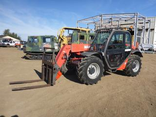 "2005 Manitou MLT 627 Turbo 4X4 Telescopic Forklift c/w Diesel, Cab, Aug Hyd, Showing 1,029 Hours, 40"" x 46"" Forks, 15' Boom, 2.75 Tires At 60%, SN 210-548 C/w 84 In. Smooth Edge Bucket *Original Hours As Per Owner* (Fichtenberg/Higher Ground Acreage Dispersal)"