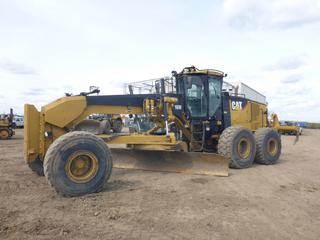 2011 Caterpillar 16M Grader c/w CAT C13 Acert VHP Diesel, A/C, Heater, Joystick, Orops, Showing 11761 Hours, 16' Blade, M/S Ripper, Front Counter Weight, Blade Accumulators, 23.5R25 Fronts At 5%, Rears At 30%, Front Axle Rating 16,345 LB, Rear Axle Rating 43,090 LB, SN CAT0016MHR9H00198