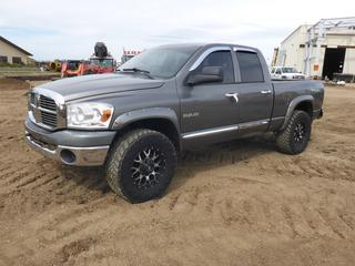 2008 Dodge Ram TRX4 Crew Cab 4X4 Pick Up Truck c/w A/T, A/C, Showing 241,006 KMS, Pioneer Stereo, Moon Roof, Mayhem Rims, 35X12.50R18 Tires, VIN 1D7HU18238S618194 NOTE: Minor Body Dent, Scratches, Tailgate Bent and Does Not Latch*