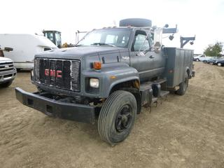 1993 GM Top Kick Service Truck With Picker c/w CAT 3116 Diesel, A/T, Showing 484,905 KMS, 22,351 Hours, Spring Susp, 11R22.5 Tires At 60%, PTO , Storage Cabinet, VIN 1GDJ6H1J7PJ515943 c/w Picker, Model UR343-C, MFG Date April 1993, Capacity 8000 LBS, SN N105267