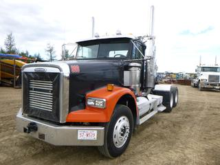 2000 Freightliner Truck Tractor c/w Cummins 500 Diesel, 18 Speed Eaton Fuller, A/C, Showing 308,668 KMS, 8,806 Hours, Webasto, PTO, 5th Wheel, Air Ride, GVWR 58,860 LB, 11RX24.5 Tires At 40%, Front Axle Rating 12,860 LB, Rear Axle Rating 46,000 LB, VIN 1FUYFDZB7YPB65264