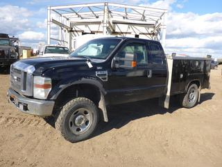 2009 Ford F-350 XLT 4X4 Extended Cab Mechanics Truck c/w 5.4L V8, A/C, Showing 204,690 KMS, Pacific Storage Boxes, 275/70R18 Tires At 60%, VIN 1FTWX31519EA36426 *NOTE: Some Rust, Damage To Front and Sides*