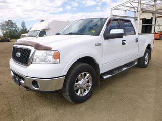 "2006 Ford F150 4X4 Lariat c/w 5.4L Triton, Showing 408,906 KMS, A/C, Leather, Sunroof, Sliding Tonnel Cover Cover, 150"" W/B, 275/65R18 Tires At 90%, VIN 1FTPW14536KD65973 *NOTE: Minor Body Rust, Cracked Drivers Mirror*"