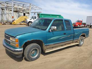 "1993 Chevrolet 1500 Extended Cab C/w 5.7L, A/T, 2WD, 6'7"" Box, Rear Hitch Receiver, 215/75R15 Tires At 40%. Showing 455,631 KMS. VIN 2GCEC19K3P1254694 *NOTE: Needs Boost, Very Rusty*"