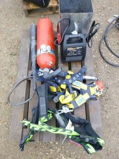 Assortment of Safety Harnesses, Battery Chargers, & Fire Extinguishers (WR-5), (WR-2)