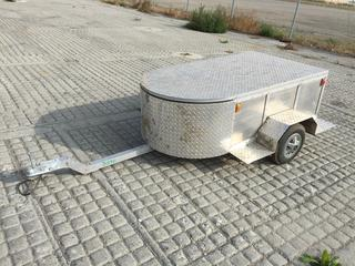 Lets Go Aluminum RND S/A Enclosed Motorcycle/Suv Cargo Trailer  c/w Spare Tire, Spare Fenders, Note: No Serial Number.