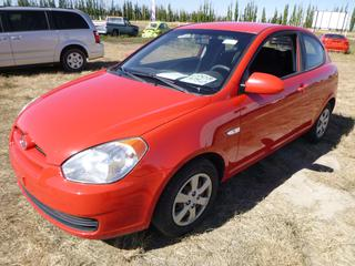 *SELLING OFFSITE COALDALE, AB* 2008 Hyundai Accent c/w 1.6L 4 Cyl, Auto, Tilt, Timing Belt Done at 96,000 Kms. Showing 128,507 Kms. S/N KMHCN35C48U093222.
