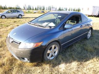 *SELLING OFFSITE COALDALE, AB* 2007 Honda Civic c/w 1.8L 4 Cyl, 5 Spd Manual, AC, Tilt, Cruise, Pwr Windows, Locks, & Mirrors. Showing 195,218 Kms.  S/N 2HGFG11697H014291.