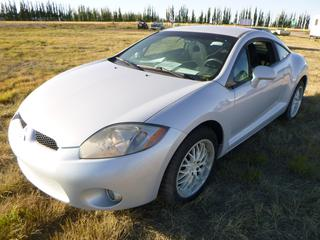 *SELLING OFFSITE COALDALE, AB* 2007 Mitsubishi Eclipse GT c/w 3.8L V6, 6 Spd Manual, AC, Tilt, Cruise, Pwr Windows, Locks, & Mirrors, Traction Control, Command Start. Showing 120,878 Miles.  S/N 4A3AK34T47E010934.