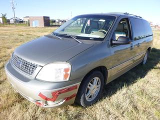 *SELLING OFFSITE COALDALE, AB* 2005 Ford Freestar Limited c/w 4.2L V6, Auto, AC, Tilt, Cruise, Pwr Windows, Locks, Seats, Sliding Doors, Liftgate & Mirrors, Park Aid, DVD. Showing 370,808 Kms. S/N 2FMDA58275BA79735.