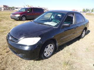 *SELLING OFFSITE COALDALE, AB* 2004 Honda Civic c/w 1.7L 4 Cyl, 5 Spd Manual, AC, Tilt, Pwr Locks. Showing 88,306 Kms. S/N 2HGES15384H917165.